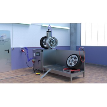 Lavage de roues avec TIRESONIC avec table de rinçage